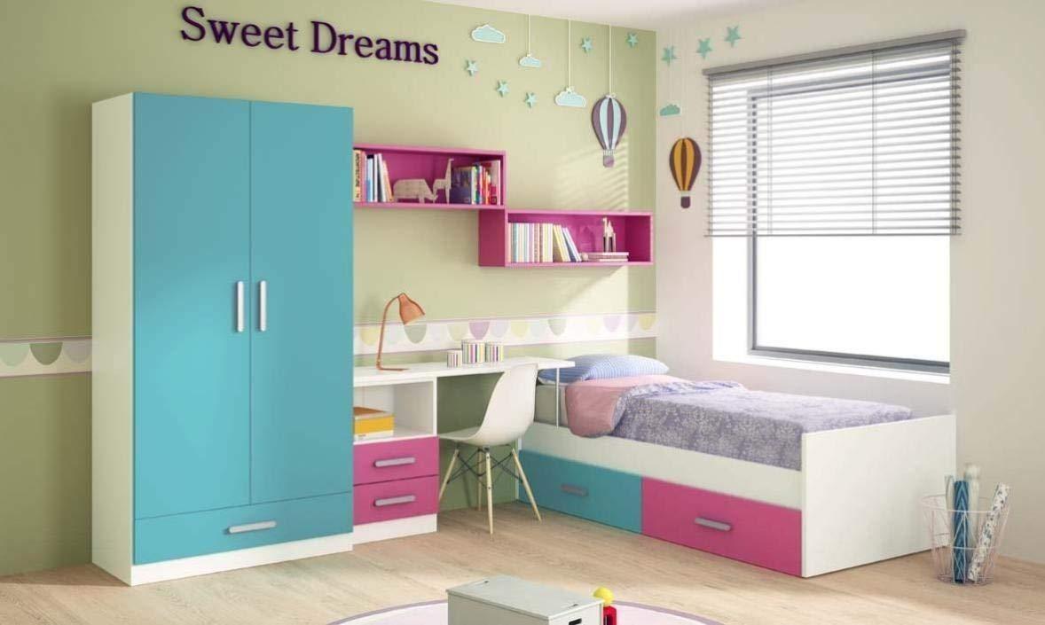 Dormitorio Juvenil Completo, Subida A Domicilio, con Cama Nido y Muebles complementarios, ref-105