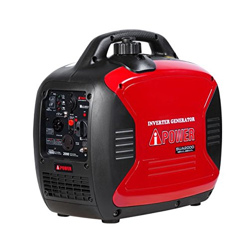 A-iPower SUA2000i 2000-Watt Portable Inverter Generator Gasoline-Powered, Red