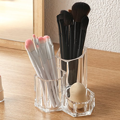Sooyee Premium Acrylic Brush Holder Desk Organizer, Lipstick Organizer, Round, Clear,3 compartments can be Placed with 20-30 Cosmetic (Lattice Plastic Balls)