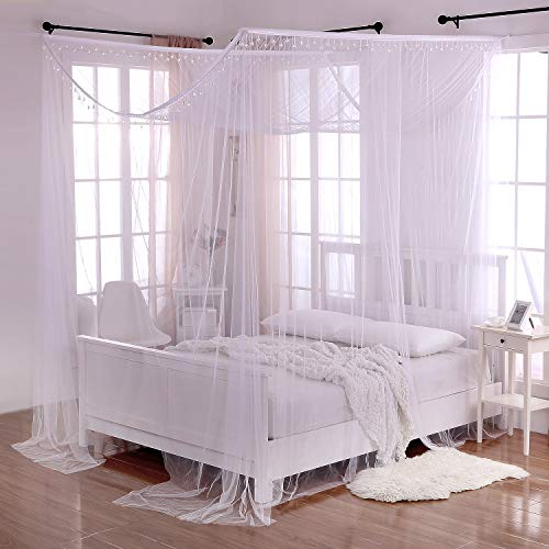 Canopy Four Poster (Heavenly 5007322 Crystal 4-Post Bed Canopy, White, One Size)