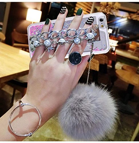 Galaxy S8 Case,Pom-pom Ball Pearl Diamond Metal Hand Chain Holder Bracelet Sparkle Moving Stars Soft TPU Edge Hard PC Case for Samsung Galaxy S8(Heart Grey)