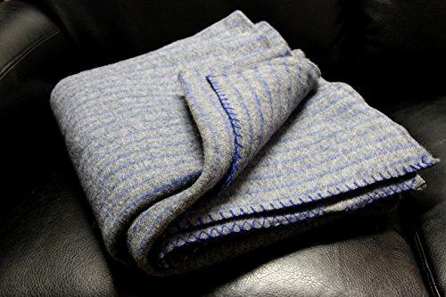 デンマークグレーMilitary Wool Blanket w /ストライプウール100 % B01IV39IF0
