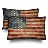 InterestPrint Vintage Retro American Flag USA Flag Patriotic Pillow Cases Pillowcase Standard Size 20x30 Set of 2, Rectangle Pillow Covers Protector for Home Couch Sofa Bedding Decorative