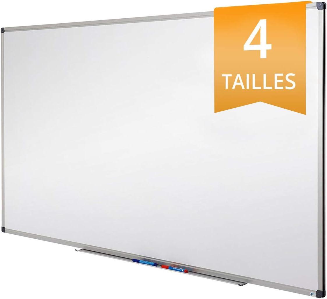 Blanc Homvik Tableau blanc tableau blanc adh/ésif tableau blanc magn/étique tableau m/émo tableau pour bureau maison et magasin avec marqueur effaceur aimant/é aimants 45 x 100 cm