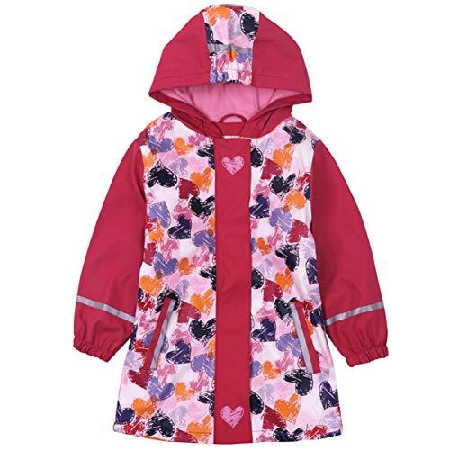 Girls Waterproof Fleece Raincoat Windbreaker Autumn-Spring Warm Stripe Softshell Outdoor Jacket with Hood (meihong 110/116) ()