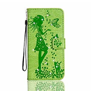 "iPhone 7 Case, Abtory Girl Series Embossing Diamonds [Kickstand Feature] PU Leather Wallet Flip Pouch Case Cover with Wrist Strap & Card Slots for iPhone 7/iPhone 8 4.7"" Green"