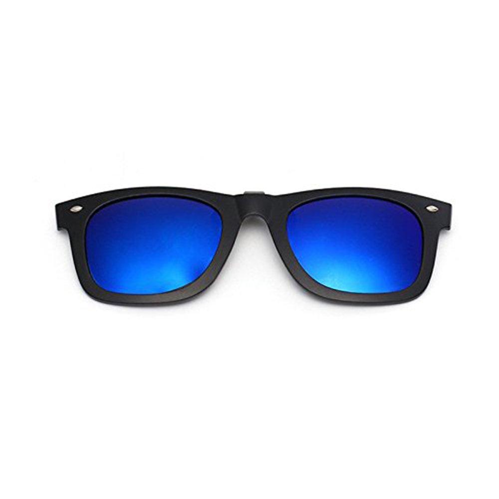 Miroir polarisées à clipser Plastique rabattable à lentilles de lunettes de soleil Cool Bleu foncé à clipser Lunettes de soleil Lunettes Clips pour homme et ...