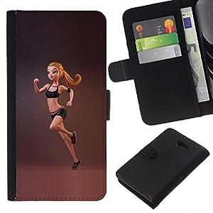 Supergiant (Sport Fitness Fit Woman Gymnast Running) Dibujo PU billetera de cuero Funda Case Caso de la piel de la bolsa protectora Para Sony Xperia M2 / M2 dual