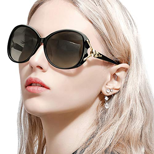 FIMILU Classic Oversized Sunglasses for Women, HD Polarized Lenses 100% UV400 Protection Fashion Retro Eyewear (Black Frame/Grey Photochromic Polarized Lens Oversized Sunglasses)