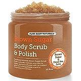 Exfoliating Brown Sugar Body Scrub, Sugar Scrub with Dead Sea Salts Body Scrub, 12 Oz, by Pure Body Naturals