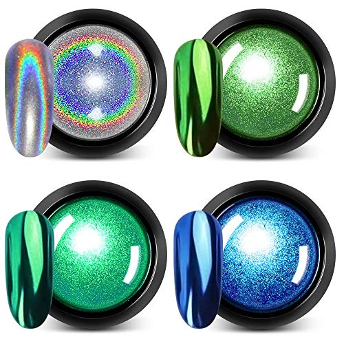 Holographic Chrome Nail Powder - DR.MODE 4 Colors 1g/Jar Best 2019 Nail Trends Metallic Chrome Powder & Rainbow Unicorn Synthetic Resin Powder for Mirror Effect Nails Chrome Manicure Pigment