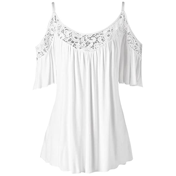 2009afe9aa4 Hannea Plus Size Cold Shoulder Lace Insert Blouse: Amazon.in: Clothing &  Accessories