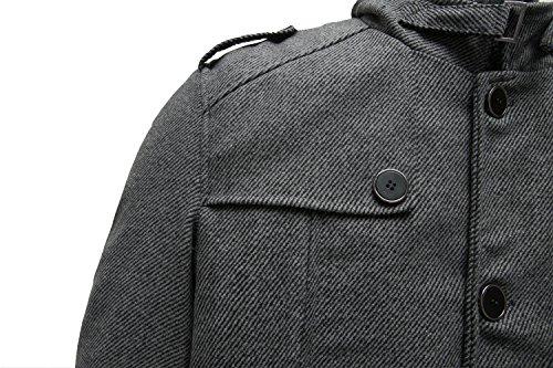 Wantdo Men's Wool Coat Stand Collar Windproof Jacket Overcoat Grey Large by Wantdo (Image #6)