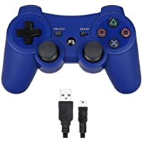 PS3 Controller Wireless Dualshock 3 Joystick, Remote Bluetooth Sixaxis Control Gamepad Heavy-duty Game Accessories for PlayStation 3 (Navy Blue)