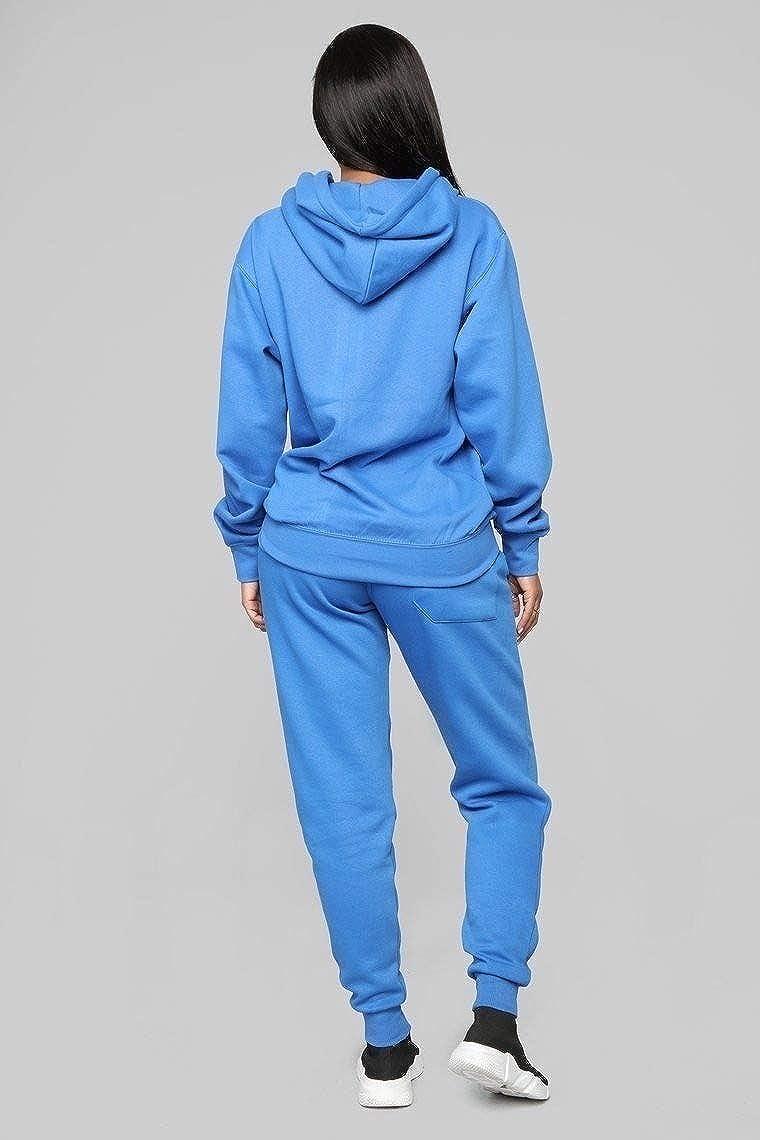 Winwinus Women Hood Casual Plus Size Pure Color Yoga 2-Piece Set