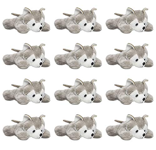 """Wildlife Tree 12 Pack Wolf Husky Mini 4"""" Small Stuffed Animals, Bulk Bundle Zoo Animal Toys, Forest Party Favors for Kids ()"""