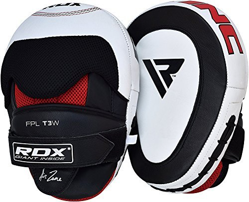 (RDX Cowhide Leather Boxing Hook & Jab Pads MMA Strike Shield Thai Kick Focus Punching Mitts Target Training, White)