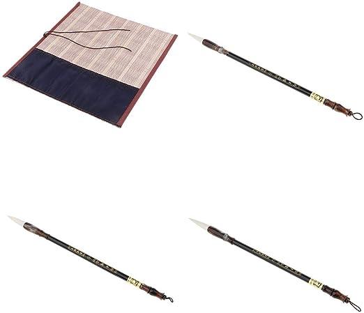 Acuarela Caligrafía China Pintura Sumi Dibujo Kanji Set De Pinceles Con Bolsa De Bambú Caligrafía Estuche Para Todo Tipo De Escritura Y Pintura: Amazon.es: Hogar