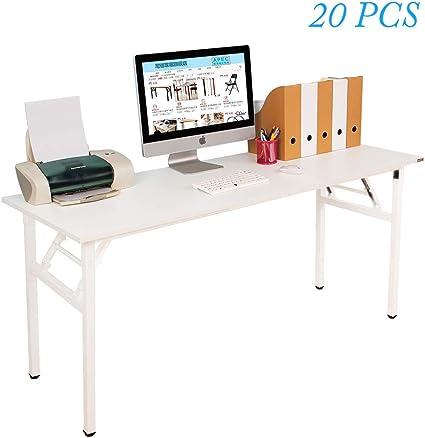 Escritorio grande plegable para ordenador, color blanco, 160 x 60 cm, 1 por caja, 20 cajas por palé: Amazon.es: Oficina y papelería