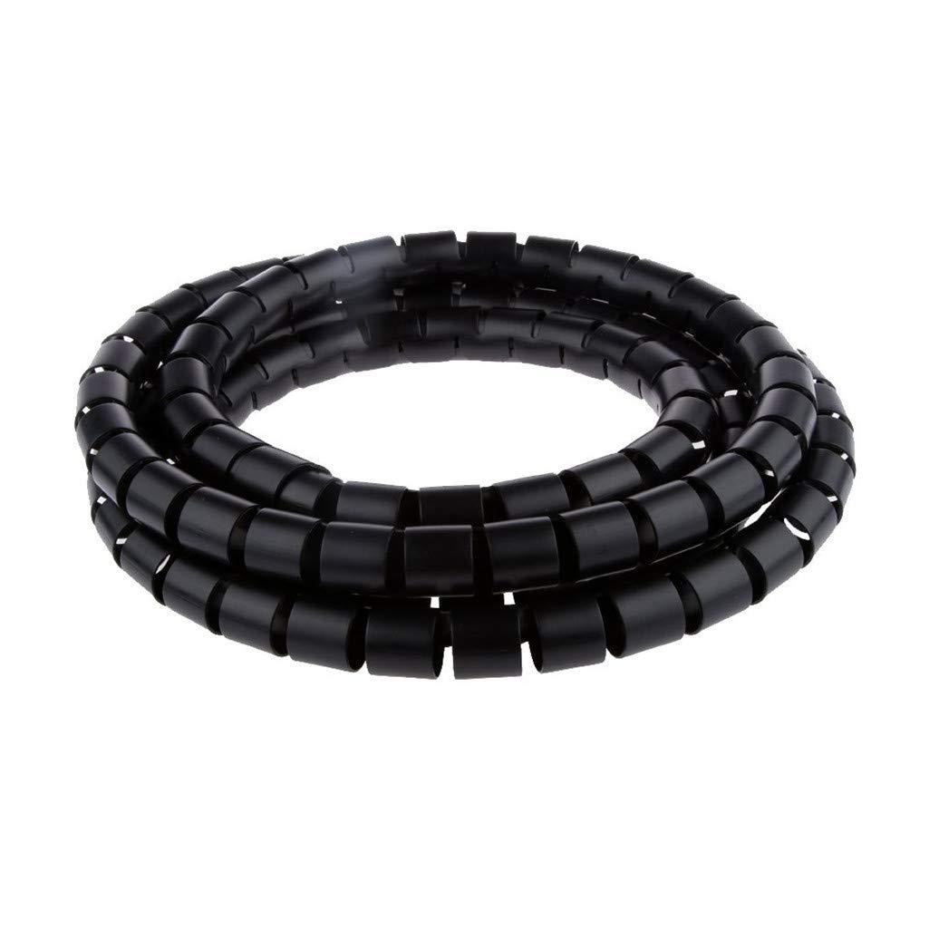 Shangwelluk Noir 1pcs 2m C/âble Wrapper PE Stockage Conduit de C/âble De Fil Bien Rang/é Organisateur De C/âble Spiral/é Organisateur De C/âble Spiral/é Zip Wrap