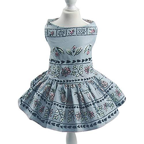 Axchongery Pet Shirt Puppy Dog Dress, Doggie Sundress Summer Floral Princess Dresses Puppy Thin Skirt (M, Light Blue)