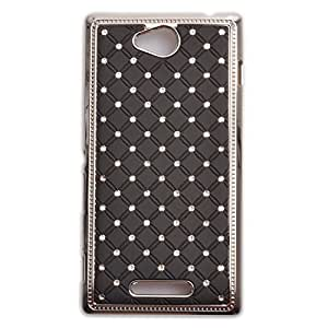 Einzige Slim Fit Rhinestone Bling Hard Chrome Plated Shine Case Cover for Sony Xperia C S39h (Black) with Free Universal Screen-stylus
