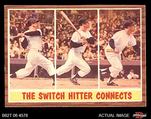 1962 Topps # 318 The Switch Hitter Connects Mickey Mantle New York Yankees (Baseball Card) Dean's Cards 4 - VG/EX Yankees
