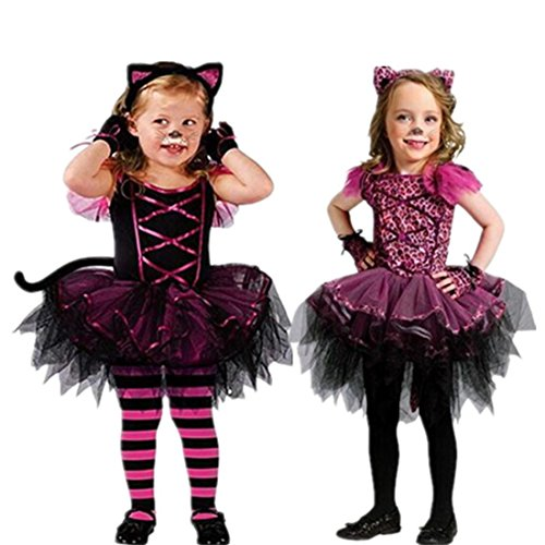 Toddlers Girls' Halloween Tutu Dress Party Costume Ear Headband cat100