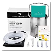Aussie Health Co Non-Toxic Stainless Steel Enema Bucket Kit. 2 Quart, Phthalates & BPA-Free. Reusable For Home, Coffee, Water Colon Cleansing Detox Enemas. Includes Nozzle Tips, Storage Bag and Guide.