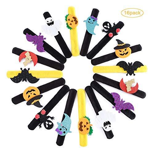 16 Pack Slap Bracelets Halloween Birthday Party Favors,Spider Pumpkin Ghost Slap Bands Bracelets for Kids And Adults,Halloween -
