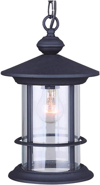 LLAN Lámpara Colgante Retro Cilíndrico Negro Exterior Lámpara Colgante Impermeable IP54 E27 Altura Lámpara Colgante Ajustable Aluminio/Vidrio Comedor Balcón Gazebo Decorativo Colgante For Exteriores: Amazon.es: Iluminación