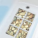 ChezMax 3D Stereoscopic Cobblestone DIY Anti Slip Safety Shower Bath Tub Decal Stickers Bathtub Appliques 6 Pcs 5.9'' X 5.9''