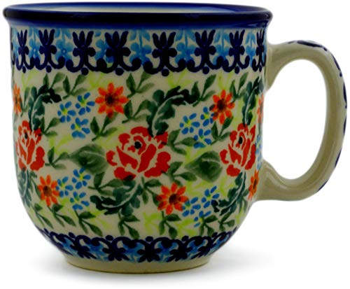 Polish Pottery 9 oz Mug (Rose Garden Theme) + Certificate of - Mug Garden Rose