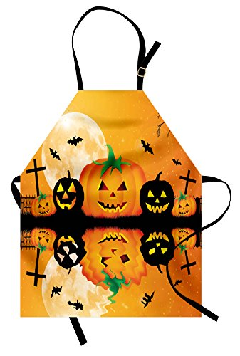 Ambesonne Halloween Apron, Spooky Carved Halloween Jack o Lantern and Full Moon with Bats and Grave Lake, Unisex Kitchen Bib Apron with Adjustable Neck for Cooking Baking Gardening, Orange Black
