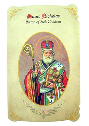 - Silver Tone Saint Nicholas Patron of Sick Children Medal and Holy Card, 1 Inch