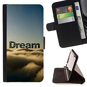 BullDog Case - FOR/Sony Xperia m55w Z3 Compact Mini / - / dream clouds sky text nature hope /- Monedero de cuero de la PU Llevar cubierta de la caja con el ID Credit Card Slots Flip funda de cuer
