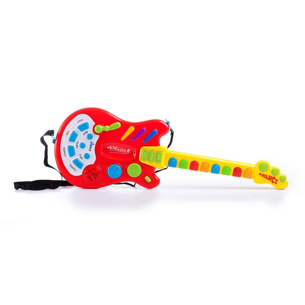 Dimple Toy Electric Guitar with Over 20 Interactive Buttons, Levers & Modes with Sound & Lights by Dimple