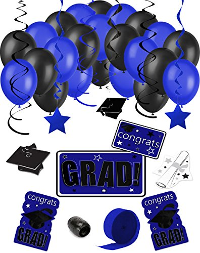 Congrats Grad 38pc Decoration Graduation Pack - School Colors Royal Blue Black