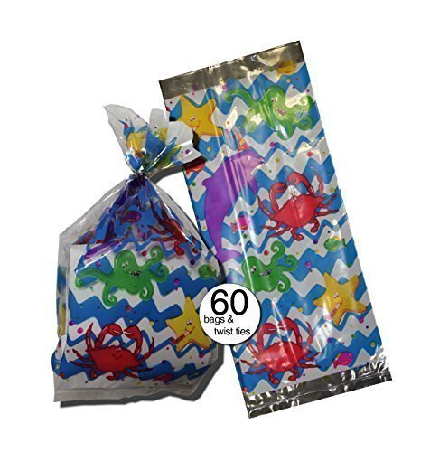 Wholesale Treat Bags (Ocean Fish and Sea Theme Design Party Treat Clear Cellophane Bags, 11