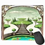 Mouse Pads for Computers Inspirational Quotes,Fantasy Fairytale Landscape View with Hanging Islands