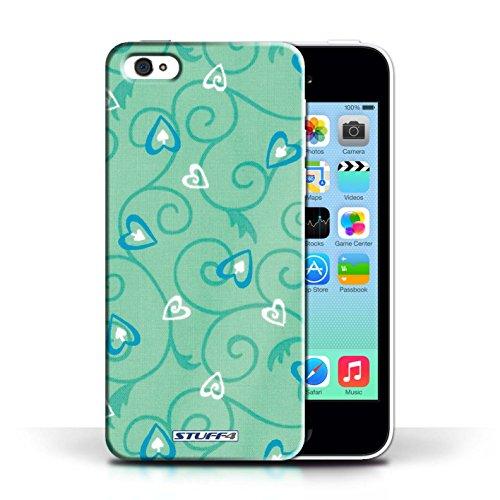 iCHOOSE Print Motif Coque de protection Case / Plastique manchon de telephone Coque pour Apple iPhone 5C / Collection Coeur Vigne Motif / Turquoise/Bleu