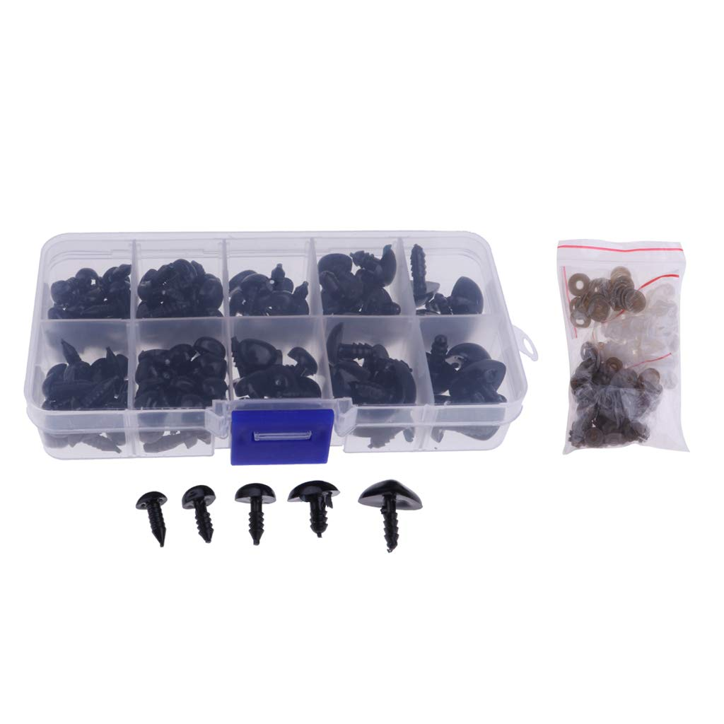 Baoblaze 130 Pieces Black Plastic Safety Nose for Bears Soft Toys Snap Animal Dolls Crafts~8-16mm Diameter