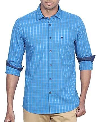 D Indian Club Blue And Yellow Checks Shirt M 38