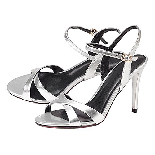 Semplice Donna alla Silver Festa Scarpe Toe A Estate Caviglia 5CM Commercio Spettacolo A Croce Moda con Peep Tacchi Cinturino Spillo 9 Cinturino 35 Sandali Fibbia Alti da dBIqZgRw