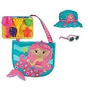 Stephen Joseph Mermaid Beach Tote Bag with Mermaid Bucket Hat and Sunglasses for Kids