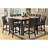 Coaster Milton 9 Piece Marble Top Table Set in Cappuccino