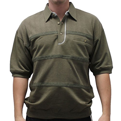 Classics by Palmland French Terry Banded Bottom Shirt - 6090-620J-OLIVE (LARGE, (Terry Banded Bottom Shirt)