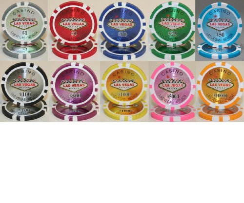 PS Las Vegas Casino Laser 14gm Poker Chip Sample Set - 10 New Chips!