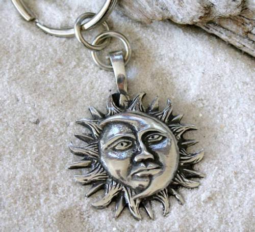 SUN MOON FACE SOLAR CELESTIAL KEYCHAIN Key Ring