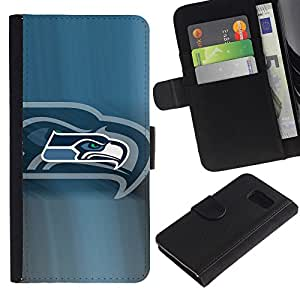 Hawk Equipo deportivo - la tarjeta de Crédito Slots PU Funda de cuero Monedero caso cubierta de piel Para Samsung Galaxy S6